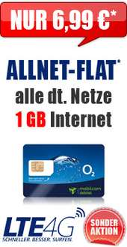 Handybude O2 Allnet-Flat, 1 GB LTE 6,99€/Monat