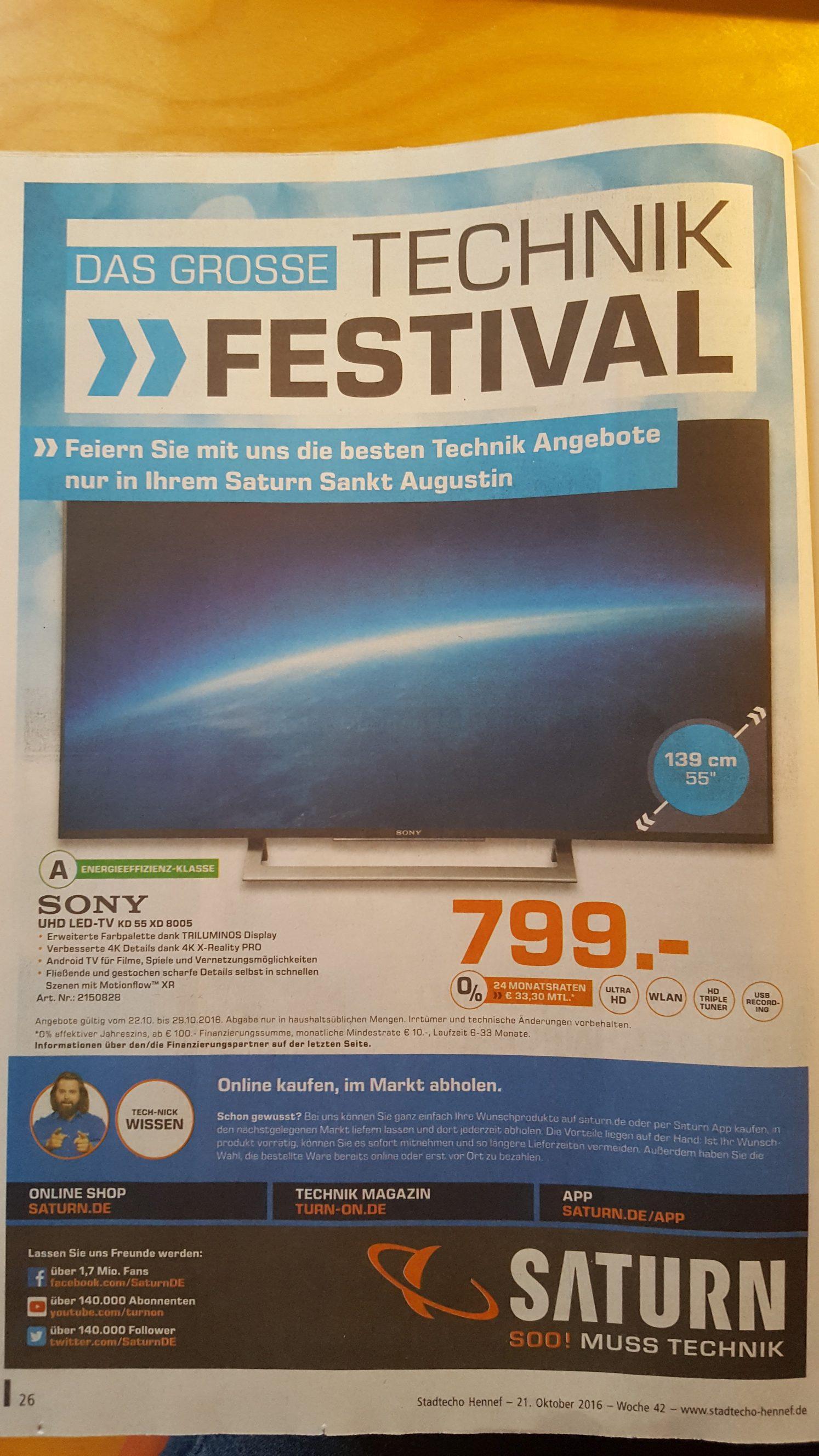 [Lokal Saturn Sankt Augustin] Sony KD55XD8005: 799€;  FRITZ!?Box 7490: 149€; Bose Soundlink Mini II: 149€  etc.