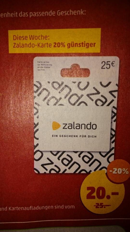 Penny-Markt, 24-29.10.16, 25 € Geschenkgutscheinkarte Zalando für 20 €