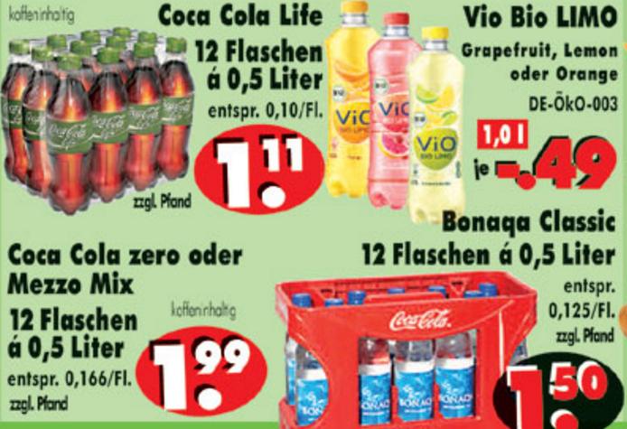 [NORDHESSEN] RB-Becker: 12x Coca Cola Life 0,5l für 1,11€ / 12x Coca Cola Zero o. Mezzo Mix 0,5l für 1,99€ / 12x Bonaqua Classic 0,5l für 1,50€ / Vio Bio Limo versch. Sorten 1,0l für 0,49€