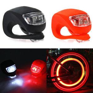 2x Silikon LED Fahrradlampe Set Vorderlicht und Rücklicht Fahrradbeleuchtung