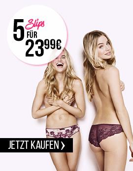 Nur heute versandkostenfrei bei Hunkemöller und 5 Slips für 23,99€