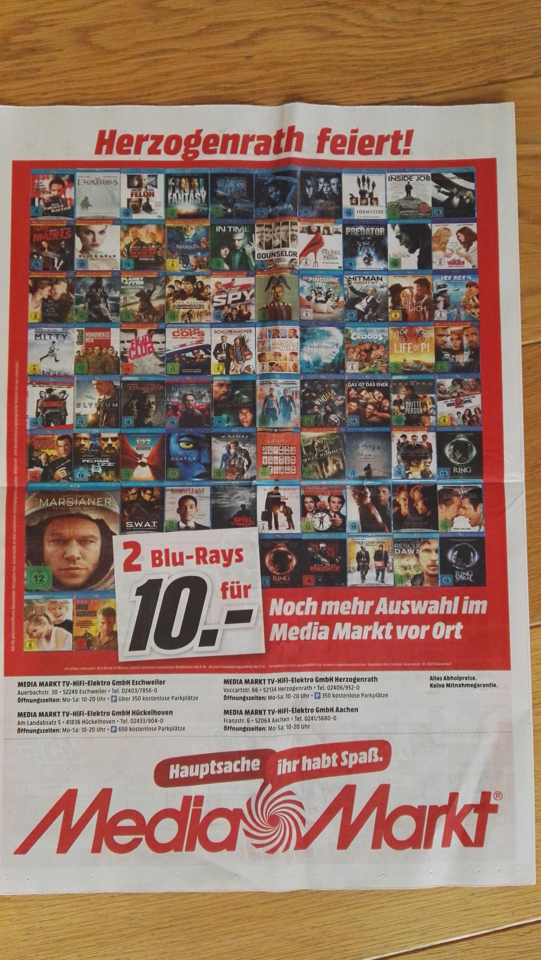 (Lokal) Media Markt Aachen / Herzogenrath / Eschweiler / Hückelhoven 2 Blu-Rays für 10€