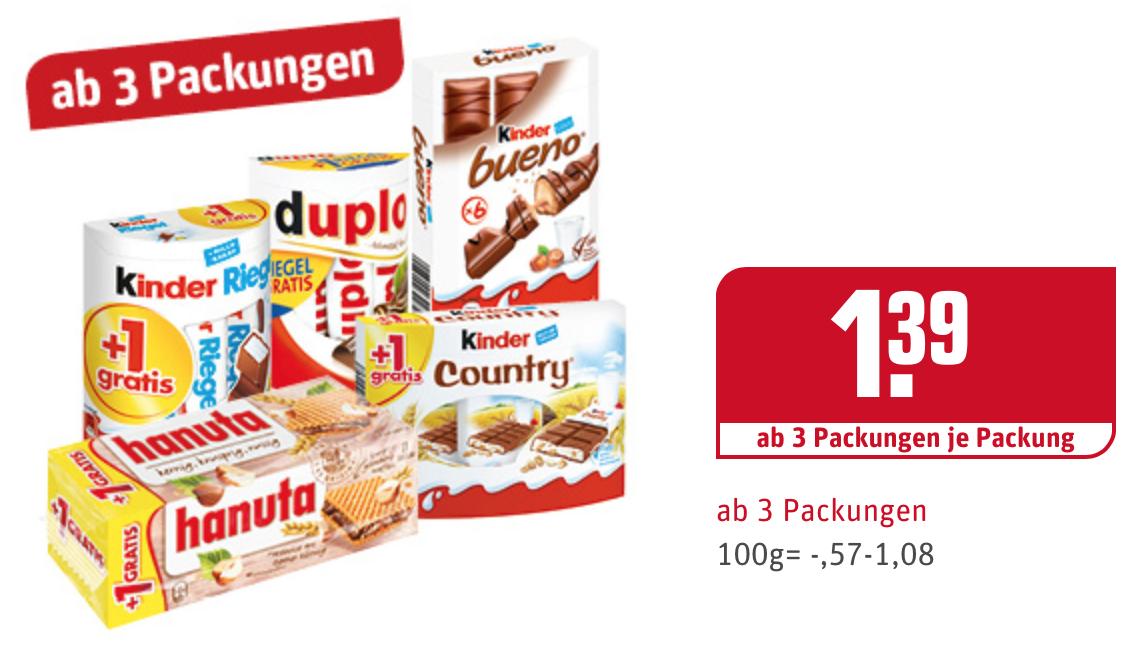 [Rewe/Bundesweit?] Duplo, Hanuta, Kinder Riegel, Bueno und Country zu je 1,39€; min Abnahme 3 Packungen ab 24.10.2016