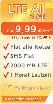 SimDiscount LTE All 2 GB · Flat alle Netze · Flat SMS · 2 GB Internet LTE · 1 Monat Laufzeit · nur 9,99 € / Monat
