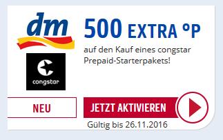 [DM e-Coupon] Congstar Prepaid Karte 10€ Startguthaben effektiv für 3,45€ (500 Extra Paybackpunkte / PSN tauglich)