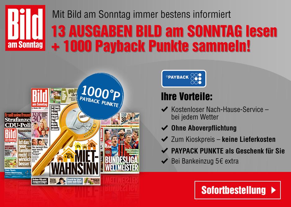 13 Ausgaben Bild am Sonntag mit 1000 Paybackpunkte für effektiv 15,35, bei Bankeinzug zusätzlich 5€ als Verrechnungsscheck