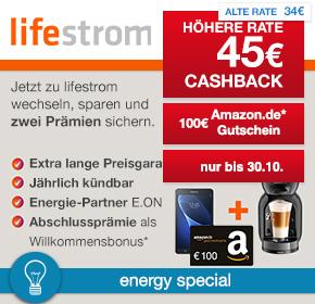 shoop / lifestrom: 45€ Cashback + 100€ Amazon.de Gutschein oder Samsung Galaxy Tab A 7.0 und zusätzlich 1x NESCAFÉ® Dolce Gusto® Mini Me® Preisbeispiel für 4000kWh