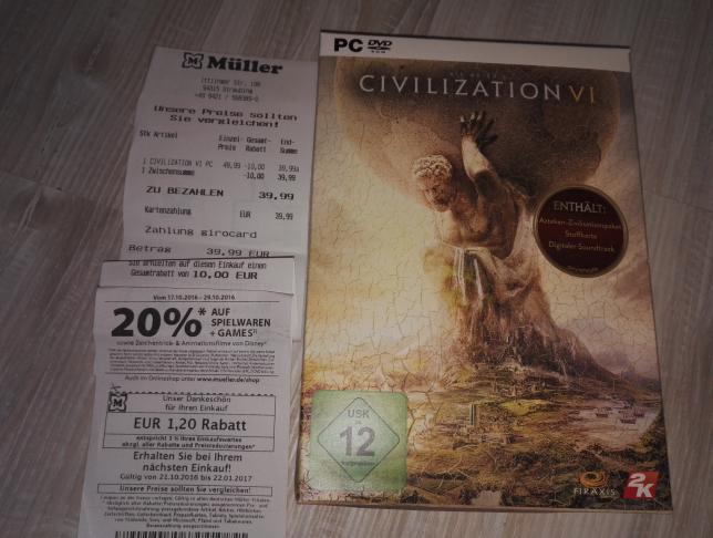 Civilization VI CIV 6 Müller sofort lieferbar Off-Online (Amazon 1-2 Monate Lieferzeit)