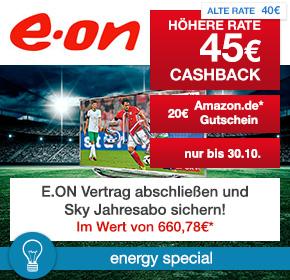 E.ON: Gasvertrag oder Stromvertrag abschließen und Sky gratis erhalten
