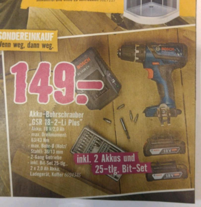 [Hornbach] BOSCH Blau GSR 18-2 LI PLUS für 149,- (Idealo 179,-)