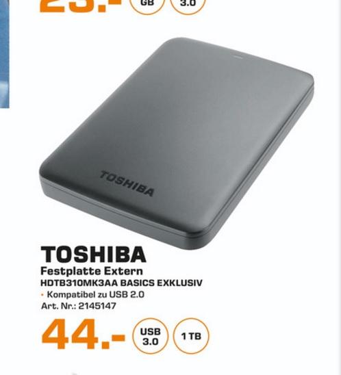 "(Lokal) Toshiba Canvio Basics 1TB 2,5"" Festplatte @ Saturn Solingen"
