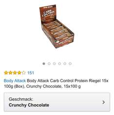 Body Attack Carb Control Crunchy Chocolate 15x 100g