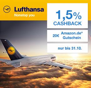 Lufthansa: 20€ Amazon-Gutschein + 1,5% Cashback auf Flugbuchung über Shoop