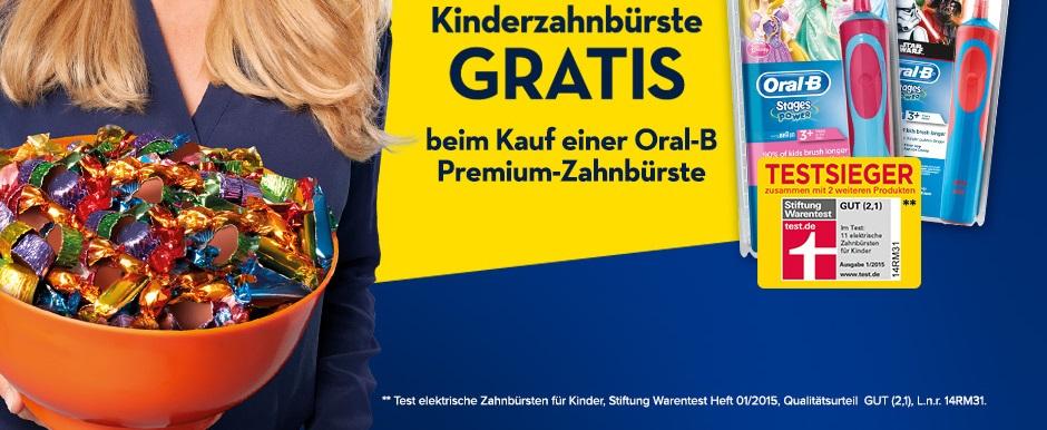 """Oral B Elektrische Kinderzahnbürste """"Gratis"""" beim Kauf einer SmartSeries 4000-6000 oder Genuis 8000-9000"""