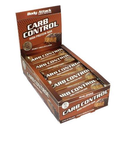 Body Attack Carb Control Protein Riegel 15x 100g (Box), Crunchy Chocolate (Amazon Prime)