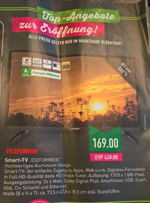 Telefunken 32 er Full HD TV für 169€ im Marktkauf Oldentrup (Bielefeld) Lokal