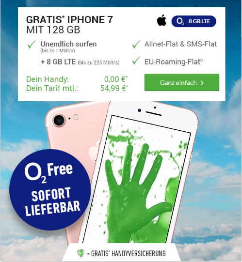 [deinHandy] o2 Free XL mit 8 GB LTE, All net flat, 12 Monate Handyversicherung + iPhone 7 128 GB  54,99€ monatlich auch junge Leute