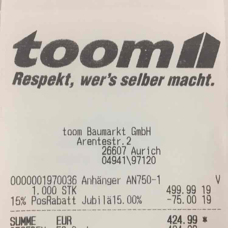 Lokal Aurich Ostfriesland - Stema Anhänger AN750-1 mit Toom 15% Jubiläumsrabatt 424,99 EURO Idealo 540,-