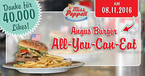 Angus Burger All You Can Eat für voraussichtlich 11,99€ bei Miss Pepper American Restaurants am 08.11.2016