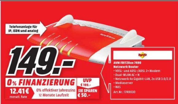 [Lokal Mediamarkt Göttingen Sonntagsangebot am 30.10] AVM FRITZ!?Box 7490, Breitbandrouter mit bis zu 450 Mbit/s und IPv6 Unterstützung für 149,-