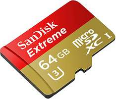 SanDisk Extreme 64GB Class 10 microSDXC for Action Sports Cameras Memory Card bis zu 90 MB/s  (Amazon Prime)