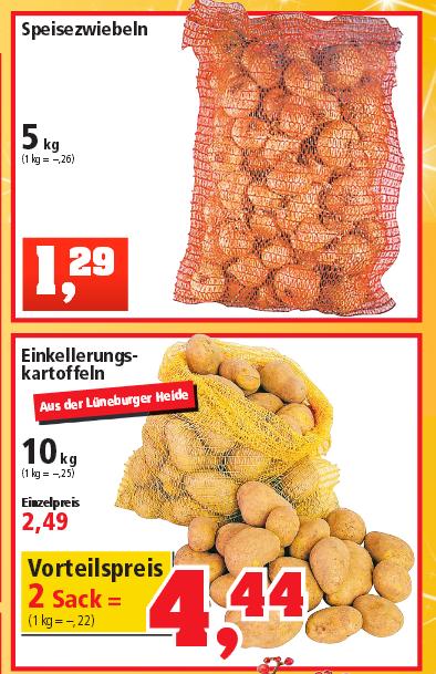 [Thomas Philipps] 5kg Zwiebeln 1,29€ / 10kg Speisekartoffeln 2,49€ Vorteilspreis bei 2 Säcken 4,44€