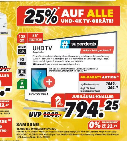 25% auf alle UHD/4K TV Geräte MEDIMAX Heinsberg + Samsung AktionTV + Tab oder Handy