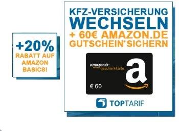Kfz-Versicherungswechsel via TOPTARIF/Discountfan: 60€-Amazon-Gutschein + 20%-AmazonBasics-Sonder-Rabatt