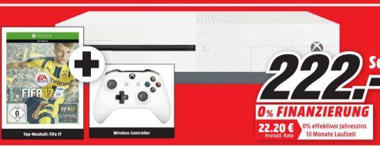 [Lokal Mediamarkt Peine Sonntagsangebot am 30.10] MICROSOFT Xbox One S 500GB Konsole - FIFA 17 Bundle für 222,-€