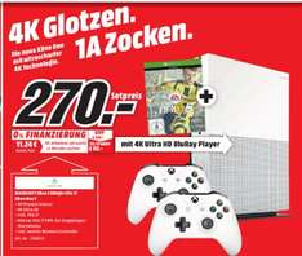 [Lokal Mediamarkt Worms Sonntagsangebot am 30.10] Microsoft Xbox One S Konsole 500GB FIFA 17 Bundle+2.Controller für 270,-€