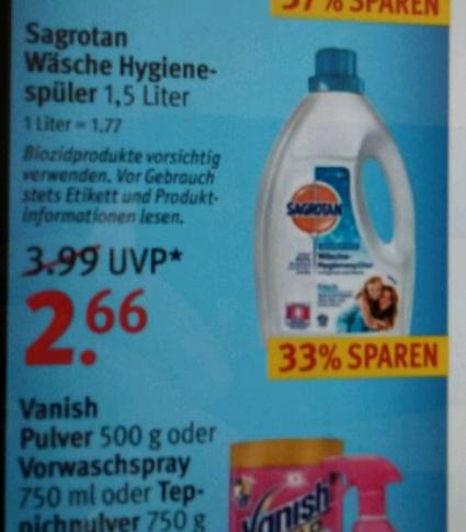 Rossmann Angebot (Essen NRW) Sagrotan Hygienespüler 2,66€