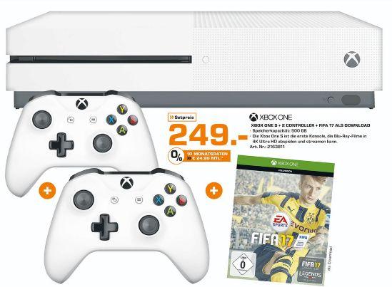 [Lokal ab Montag.Saturn Bremen-Duckwitzstr.] Microsoft Xbox One S Konsole 500GB FIFA 17 Bundle+2.Controller für 249,-€