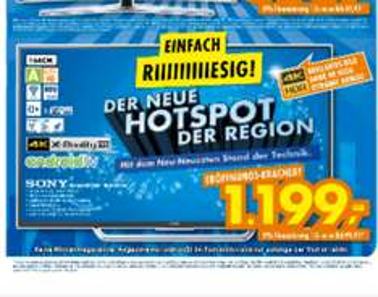 (Lokal Neu-Ulm) Sony Bravia 4k HDR TV KD65XD7505