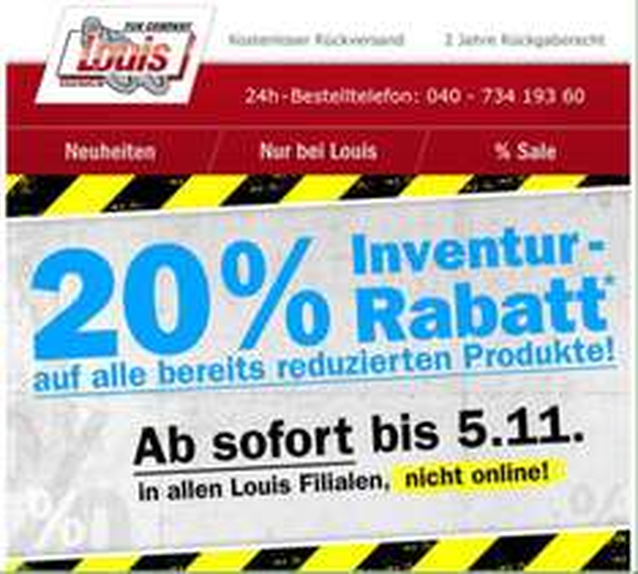 Louis: 20% Rabatt auf reduzierte Produkte (nicht online)