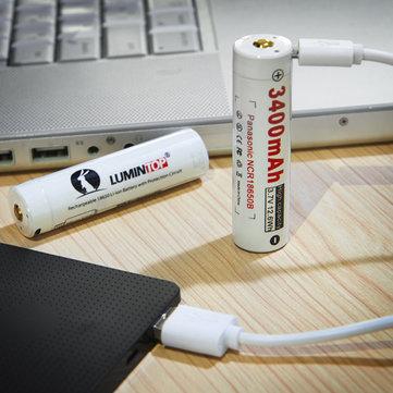 [Banggood] 18650 Lithium-Ionen-Akku Lumintop LM34C mit Micro-USB-Anschluss zum Aufladen (z.B. für Taschenlampen)