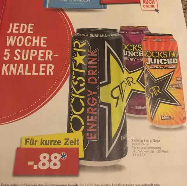 (Lidl) Rockstar Energy Drink verschiedene Sorten 0,88€ (zzgl. 0,25€ Pfand)