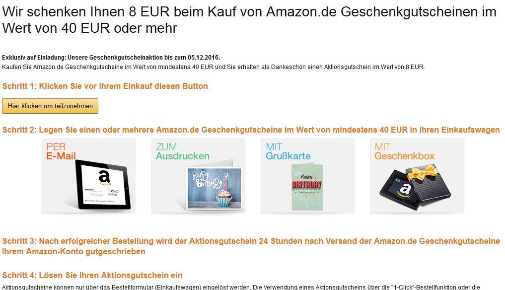 Amazon.de -  Geschenkgutschein im Wert von 40 EUR oder mehr kaufen und 8 EUR geschenkt bekommen.