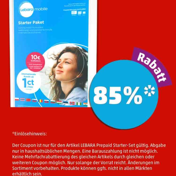 Lebara prepaid starterpaket mit guthaben 10 EUR für 1,50 bei penny