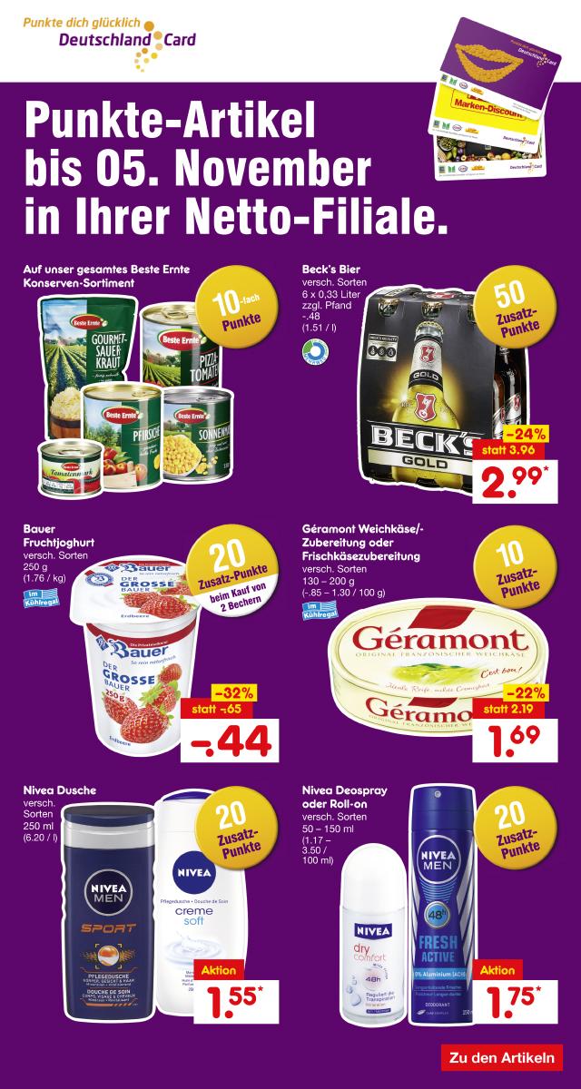 [Netto ohne Hund bundesweit] Becks Sixpack 6x 0,33l + 50 Deutschlandcard Punkte (=0,50€) für 2,99€