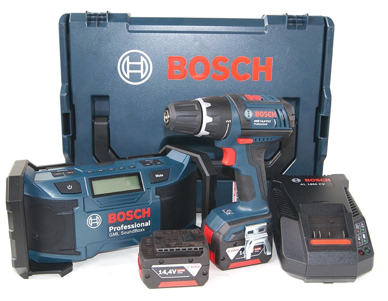 Bosch GSR 14,4 V-Li mit 2 Akkus (4,0Ah) und Soundboxx GML für 299 €