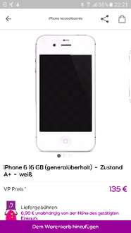 Falscher Titel: Iphone6 16Gb refurbished