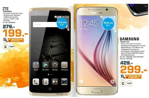 [Lokal Saturn Köln Hansaring ab 02.11] ZTE Axon Elite, Smartphone, 32 GB, 5.5 Zoll, Gold, LTE für  199,-€ oder Samsung Galaxy S6 32GB für 299,-€