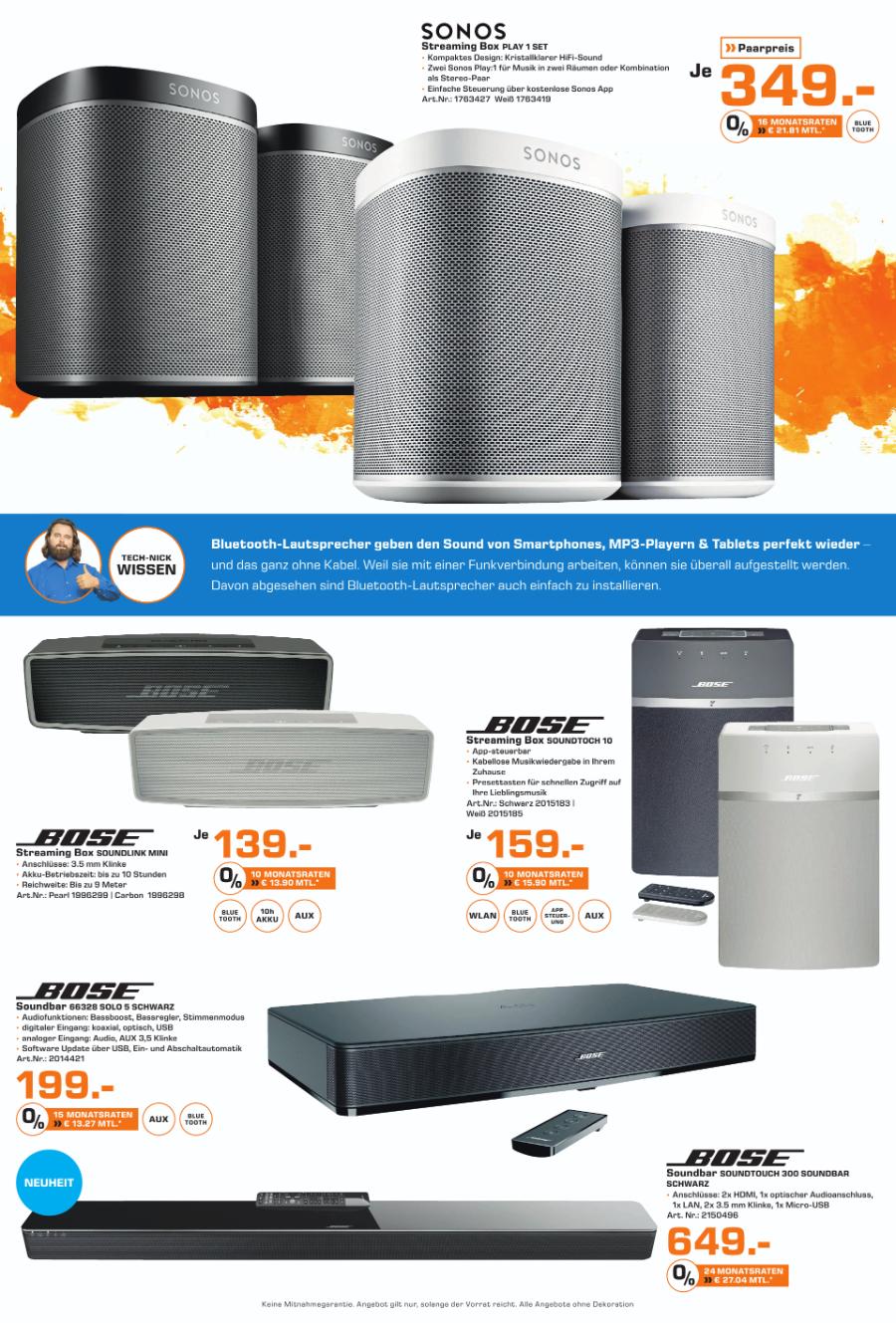 Bose Soundlink Mini 2 139,-€ / Sonos Play 1 349€ für 2  (lokal Saturn Flensburg - 10 Jahre Jubiläum)