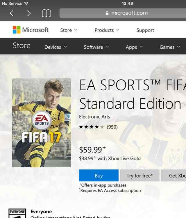 [Xbox One - für Gold-Mitglieder] Fifa 17 Standard Edition ~36€