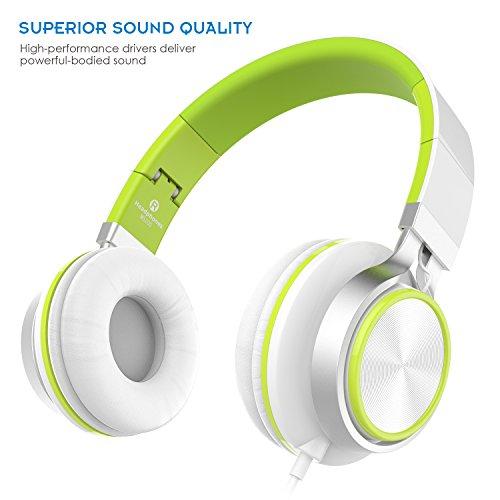 Sound Intone MS200, faltbarer On-Ear Hi-Fi Kopfhörer, 3.5mm Klinkenstecker (Weiß/ Grün)