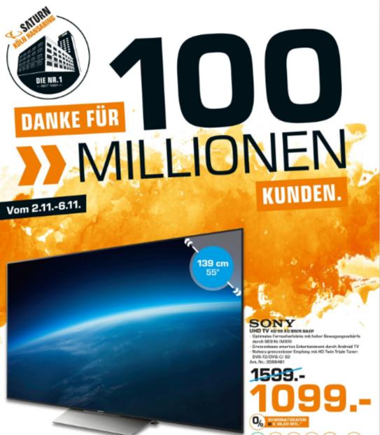 [LOKAL KÖLN] Sony KD-55XD8505 VP=1.294€ oder Kopfhörer Bose SoundTrue Around-Ear für 88€ statt 149€