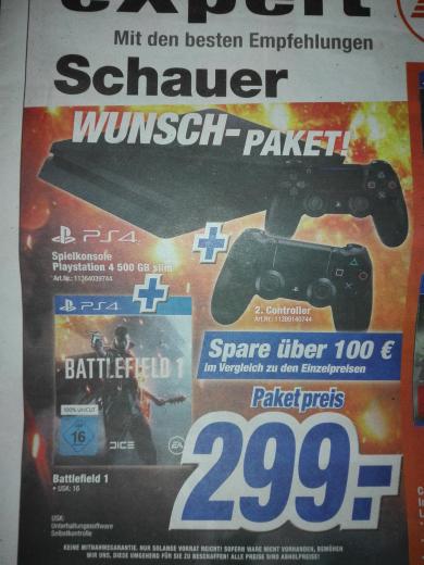 PS4 Slim 500 GB + Battlefield 1 + 2. Controller für 299€ [expert Schauer]