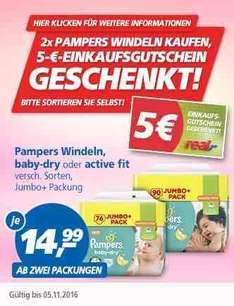 REAL - Pampers Baby Dry oder Active fit - Jumbo Packs im Angebot - Endpreis = 8,99€