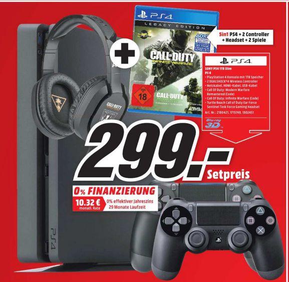 [Lokal Mediamarkt Magdeburg-Pfahlberg] Playstation 4 Slim mit 1 TB inc. COD Infinty Warware Legacy Edition (jeweils als Code) + 2. Controller + Gaming Headset Turtle Beach COD Sentinel Task Force PS4 für 299,-€
